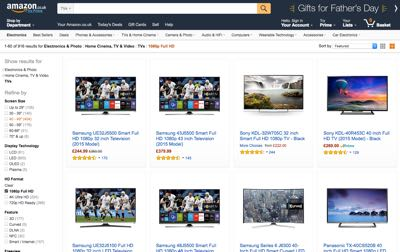 picture of the amazon website showing their most popular televisions