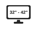 picture of a television screen with the range 32 to 42 inches displayed on it