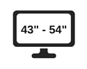 picture of a screen with the range 43 inches to 55 inches shown on it