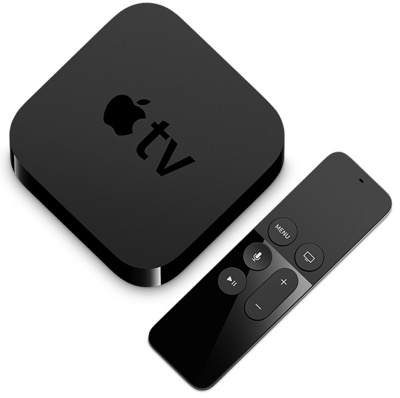 picture of the apple tv box alongside the remote control