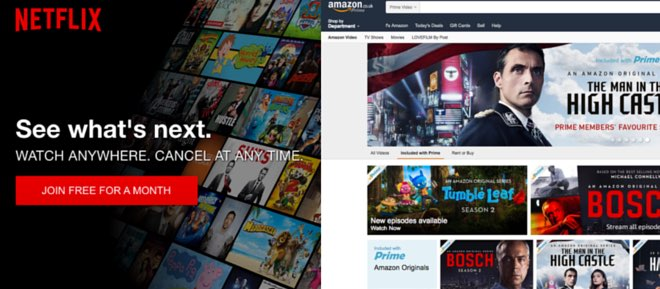 picture of the homescreens of amazon instant and netflix side by side